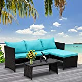 Valita 3-Piece Outdoor PE Rattan Furniture Set Patio Wicker Conversation Loveseat Sofa Sectional Couch Turquoise Cushion
