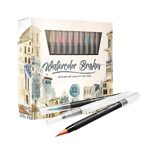Watercolor Brush Pens Assorted Set Colored 49 + 3 Watercolor Brush Pens +8 Watercolor Paper Complete Art Supply Coloring & Inking Markers W/Real Brush Tips & Carrying Case Nontoxic (52)