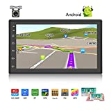 Android Car Stereo Double Din GPS Navigation Stereo 1G 16G Car Radio with Bluetooth 7' HD Touch Screen Car MP5 Player Support FM Radio Receiver/WiFi/USB Input/SWC/Mirror Link +12 LED Rear View Camera