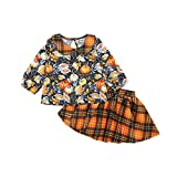 Otoño Childern Girl Ropa Baby Girls Halloween Calabaza Manga Larga Solapa Tops...