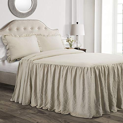 Lush Decor Neutral Ruffle Skirt Bedspread Shabby Chic Farmhouse Style Lightweight 3 Piece Set King