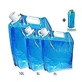 Nsiwem 4pcs Sacs de d'eau Pliable Eau Potable Conteneur Bouteilles d'eau Pliable Conteneur d'eau...