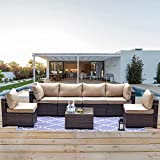 Kullavik Patio Furniture 7 Pieces Outdoor Sectional PE Rattan Sofa Set Brown Manual Wicker Patio Conversation Set with 6 Sand Seat Cushions and 1 Tempered Glass Tea Table