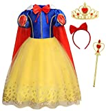 HenzWorld Princess Costume Long Dress Birthday Party Cosplay Cape Puff Sleeve Tutu Skirt Patchwork Outfits Red Bow Headband Accessories Wand Crown Little Girls 4-5 Years