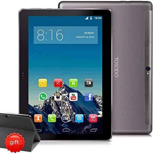 Tablet 10 Zoll 4G LTE - TOSCIDO Android 10.0 ,4GB RAM,128GB ROM,1920*1200HD,Octa Core ,Dual SIM,WiFi,Dual Stereo Lautsprecher - Grau