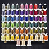 ThreadNanny Polyester Embroidery Machine Thread, 63 Colors, 40-Weight, 550-Yd.  AZO-Free Sewing Supplies with Color Chart  Compatible with Brother, Babylock, Janome, Singer, Husqvarna, and More