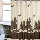 Uphome Deer in The Forest Fabric Shower Curtain - Hunting Theme Beige and Coffee Country Moose Waterproof Bathroom Cloth Shower Curtain Cabin Decor, 72 X 72 Inch