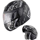 X4 Motorcycle Helmet Adult DOT Modular Flip up Full Face Sports Bike Snowmobile Helmet with Anti Fog Shield (138 Black, M)