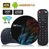 Android 9.0 TV Box 2G+16Gcon Mini Teclado inalmbirco RK3318 Quad-Core 64bit Android TV Box, Wi-Fi-Dual 5G/2.4G, BT 4.0, 4K*2K UHD H.265, USB 3.0 Smart TV Box