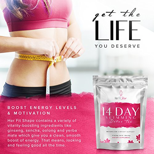 Raspberry Ketone Force and Her Fit Shape 14 Day Detox Tea Bundle - Natural Weight Loss Supplement and Tea Cleanse to Lose Weight - Improve Energy - Reduce Belly Fat and Bloating (2 Items) 8