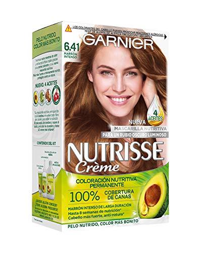 Garnier Nutrisse Creme Coloración Nutritiva Permanente, Tinte 100% Cobertura de Canas con Mascarilla Nutritiva de 4 Aceites - Tono 6.41 Marrón Intenso