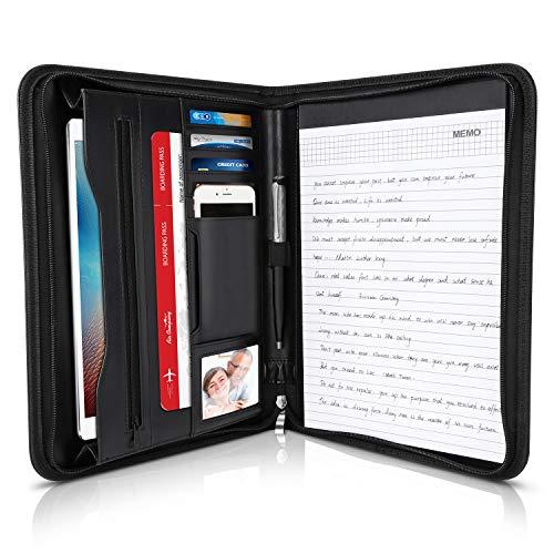 LOETAD Schreibmappe Konferenzmappe A4 Dokumentenmappe aus Leder mit stabilen Reißverschluss inkl. A4-Notizblock