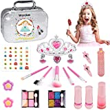 Warckon Washable Kids Makeup Kit for Girls,21 Pcs Real Makeup Toys Set, Safe & Non-Toxic, Princess Pretend Play Makeup for Little Girls Toys Halloween Birthday Christmas Age 3 to 12 Gift for Girls