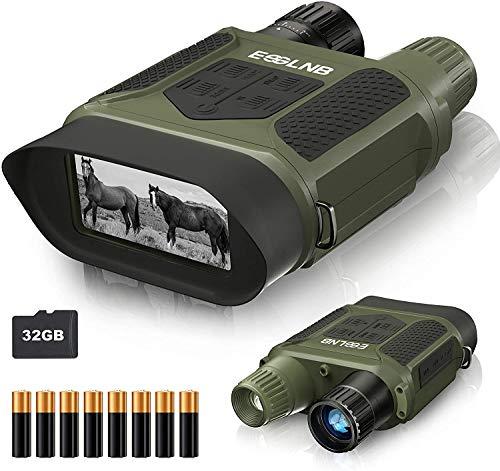 ESSLNB Binocolo Visione Notturna 7x31 Visore Notturno Caccia con 32GB TF Carta 8 AA Batterie 4' LCD Schermo 1300 ft/400m Gamma