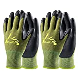 COOLJOB 2 Pairs Gardening Gloves for Women and Men, Bamboo Working Gloves Touchscreen, Grippy Nitrile Rubber Coated Work Gloves, Green, X-Large Size (2 Pairs XL)