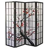 Roundhill Furniture Black Japanese 4-Panel Screen Room Divider, Plum Blossom