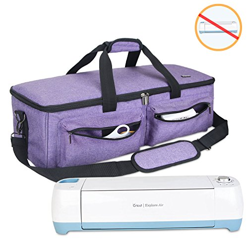 Luxja Carrying Bag Compatible with Cricut Explore Air and Maker, Tote Bag Compatible with Cricut Explore Air, Silhouette Cameo 4 and Supplies (Bag Only, Patent Pending), Purple