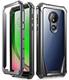 Moto G7 Power Case, Moto G7 Supra Case, Moto G7 Optimo Maxx Case, Poetic Full-Body Rugged Clear Hybrid Bumper Case, Built-in-Screen Protector, Shock Proof, (DO NOT FIT Moto G7 Or Moto G7 Play), Black