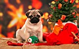 Jigsaw Puzzle 1000 Piece Christmas Tree and Pug Classic Puzzle Adult Puzzle DIY Kit Wooden Toy Unique Gift Modern Home Decor