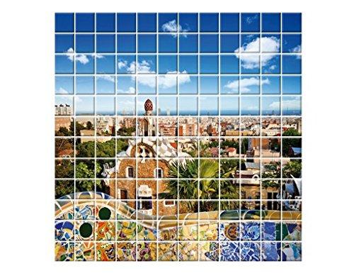 Mural de Azulejos Barcelona, Tile Size: 10 cm x 10 cm; Dimen