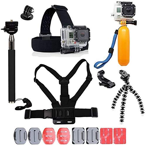 YHTSPORT 11 in 1 Kit Accessori per Action Cam Compatibile con GoPro Hero 9 8 Max 7 6 5 4 Black GoPro 2018 Session Fusion Silver White Insta360 DJI SJCAM APEMAN AKASO ECC.
