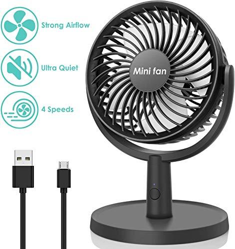 COMLIFE Mini USB Tischventilator, USB Lüfter mit 4 Geschwindigkeiten / 310° Drehung, Tragbarer Persönlicher USB Ventilator für Zuhause, Büro