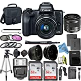 Canon EOS M50 Mirrorless Camera Kit with 15-45mm Lens + 2pc SanDisk 32GB Memory Cards + Accessory...