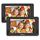 NAVISKAUTO 10.5' Dual Screen DVD Player Portable for Car with 5-Hour Built-in Rechargeable Battery, Supports USB/SD/MMC Reader and Region Free (Host DVD Player+ Slave Monitor)