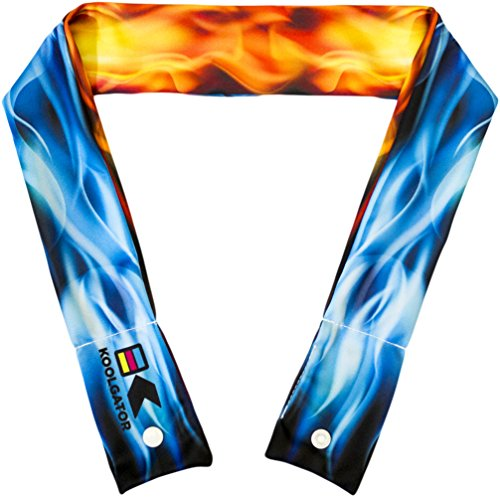 KOOLGATOR Cooling Neck Wrap - Blue & Red Flames Design