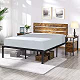 YAHEETECH Rustic Style Full Size Platform Metal Bed Frame with Wooden Headboard and Footboard/Mattress Foundation/No Box Spring Needed/Under Bed Storage/Strong Slat Support