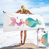 Lawenp Toalla de Playa de Secado rápido, Microfibra con Estampado de Sirena, Toallas de baño Ligeras, súper absorbentes para niños y Adultos de 31.5 'X63'