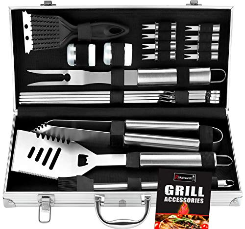 ROMANTICIST 20pc Heavy Duty BBQ Grill Tool Set in Case - The...