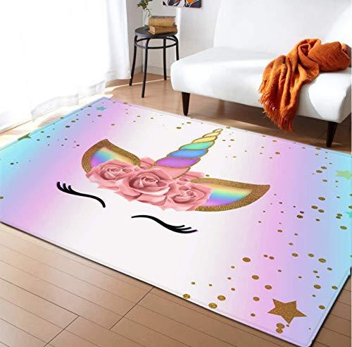 Tappeto Per Bambini Area Antiscivolo Tappetino Gioco Per Bambini Gioco Poliestere Coperta Unicorno...