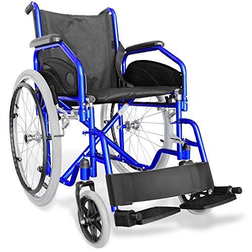 AIESI Silla de Ruedas plegable ligera con autopropulsión para discapacitados y mayores AGILA EVOLUTION # Reposabrazos y Reposapiés extraíble # Cinturon de seguridad # Garantía de 24 meses