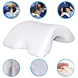 Slow Rebound Pressure Pillow Memory Foam Arch Pillow, 6 in 1 Multifunction Ergonomic Contour Ice Silk Fabric Anti-Hand Numb Snore Neck-Protection Couple Sleep Pillow with Washable Cover (White)