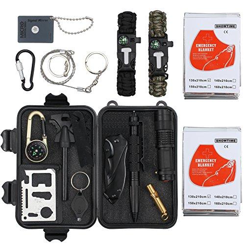 Proster Kit de Supervivencia 16 en 1 Equipo de Supervivencia de Bolsa de Herramientas con Manta de Emergencia y Multifuncional Bolsa de Supervivencia profecional para Viajar Caminar Acampar al Aire