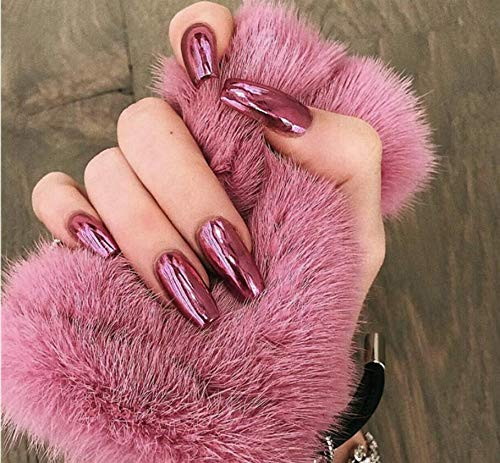 Cathercing 24 Pcs Mirror False Nails Pure Color Smooth Coffin Nails Full Cover False Nails Medium Beauty Nails Fake Gel Tips Art Nail Stickers for Women Girls Gift on Halloween Party(Mirror red)