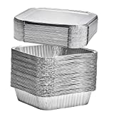 8' Square Disposable Aluminum Cake Pans - Foil Pans perfect for baking cakes, roasting, homemade breads | 8 x 8 x 2 in with Flat Lids (20 count)