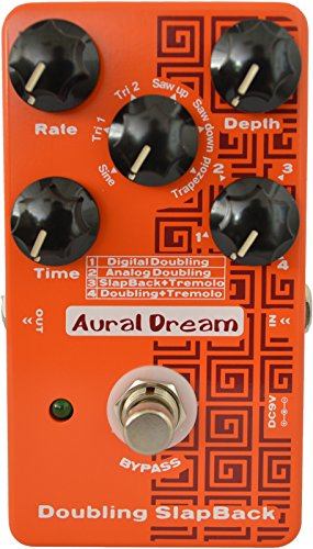 Aural Dream Doubling Slapback Guitar pedal with 4 Double Slapback Tremolo modes and 6 modulation waveforms reaching 24 effects,True bypass