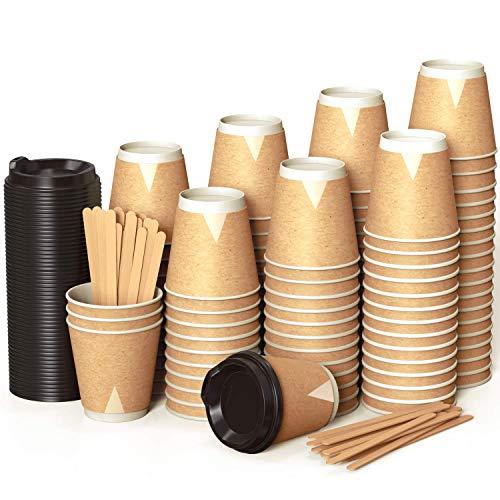 100 Kraft Piatte Bicchieri Carta 240 ml Doppia Parete per Prendere Il caffè – Tazza con Coperchio per Prendere Il caffè con Le Stiratrici di Legno per Il Prendere Il caffè, Il tè, Le Bevande Calde