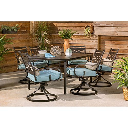 Hanover Montclair 7-Piece All-Weather Outdoor Patio Dining Set, 6 Swivel Rocker Chairs with Comfortable Blue Seat and Lumbar Cushions, 40'x66' Stamped Rectangle Table, MCLRDN7PCSQSW6-BLU