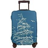 Funda de Equipaje de Viaje Dibujo artístico de una fragata Velero Antiguo en Olas Protector de Maleta Flying Birds Tamaño L