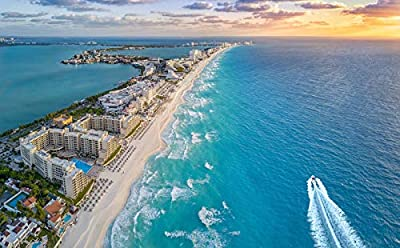 Cancun, Mexico - Aerial view of Beach at Sunset 9026243 (9x12 Art Print, Wall Decor Travel Poster) Standard 9x12 print, ready for framing Printed in the USA on heavy stock paper using a high-end digital printing press Perfect for your home, office, o...