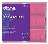 Diane Foam Rollers, Pink, 1 1/2', 6/bag, Won't hurt your hair, Satin, Hair rollers and curl, Dense foam, Snap closure