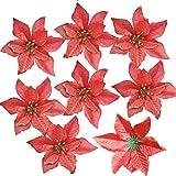 12 unidades de flores de Pascua de purpurina AmaJOY, adorno para rbol de Navidad, artificial, para podas, flores de Navidad, para hacer coronas decorativas, 14 cm