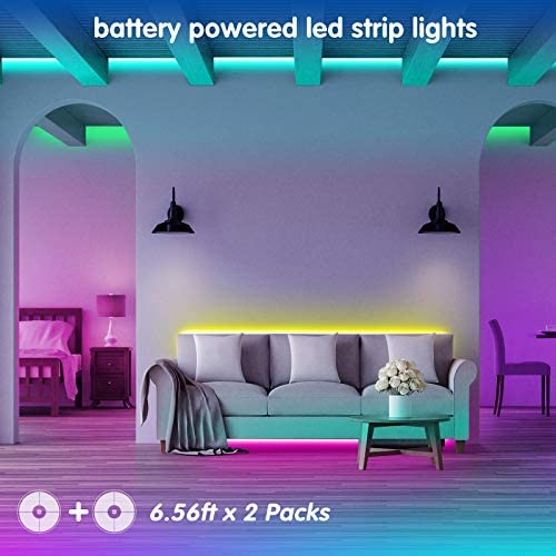 LED Strip Lights Battery Powered13.12ft,Tenmiro Led Lights USB Powered for TV,RGB 5050 Color Changing Led Lights,with Remote Led Lights for Bedroom,Home Decoration,Party,Camping 15