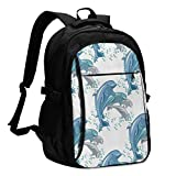 asfg Resistente a Las Manchas Happy Dolphins Jumping Multifunctional Personalized Customized USB Backpack, Student School Outdoor Backpack,Travel Bag Laptop Bookbags Business Daypack.