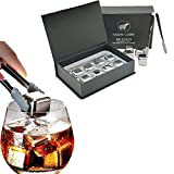 Whiskey Stones Gift Set,Reusable Stainless Steel Ice Cubes,Metal Whisky Chilling Rocks with Ice...