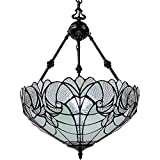 Amora Lighting Tiffany Style Hanging Lamp Jeweled Chandelier 18' Wide Stained Glass White Antique Vintage Light Decor Restaurant Game Living Dining Room Kitchen Gift AM263HL18B