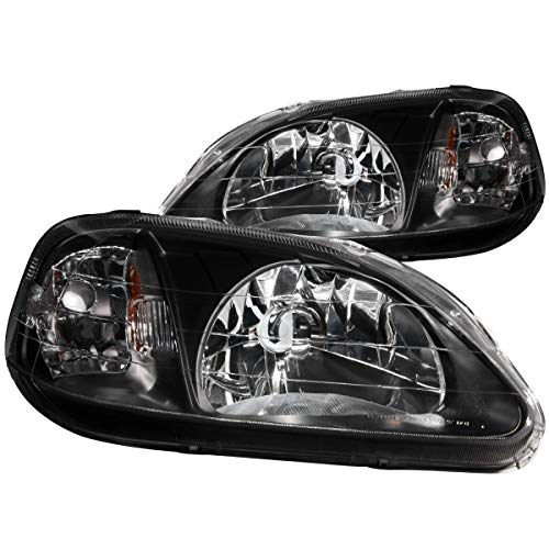Anzo USA 121070 Honda Civic Crystal Black Headlight Assembly - (Sold in Pairs)